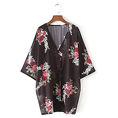 Hibluco Women's Chiffon Floral Kimono Cardigan Summer Sheer Swimwear Beach Cover Up at Women's Clothing store