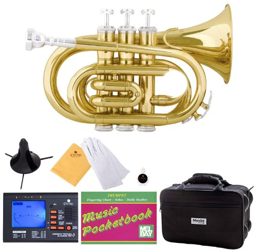 Mendini B-Flat Pocket Trumpet, Gold Lacquered and Tuner, Case, Stand, Pocketbook - MPT-L+SD+PB+92D Mendini by Cecilio