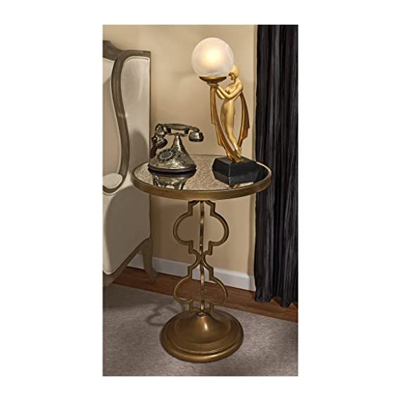 """Design Toscano Film Noir Art Deco Mirrored Accent Table - Dimensions: 18""""Wx18""""Dx26""""H 13 lbs. Hand-crafted by highly skilled artisans using all metal construction Mirrored glass tabletop - living-room-furniture, living-room, end-tables - 51aMYyu%2B7FL. SS570  -"""