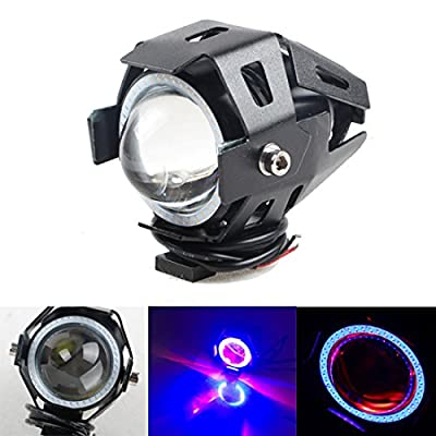 KDL CREE U7 Motorcycle LED Headlight Waterproof High Power Spot Light Laser Cannon spotlights with Angel Eyes 3 mode Strobe