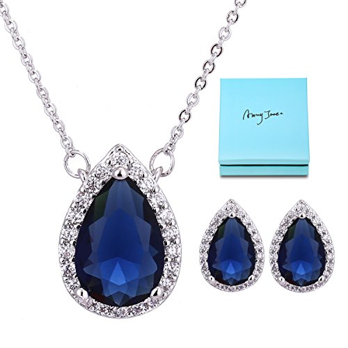Bridal Jewelry Set for Women - Sterling Silver Blue Sapphire Teardrop Crystal Cubic Zirconia CZ Halo Necklace Earrings Set for Girls Wedding Bride Bridesmaids Gift September Birthstone Jewelry