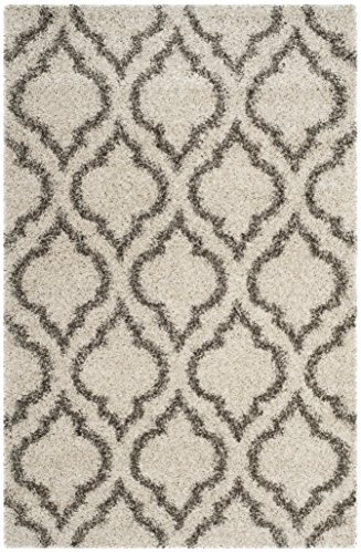(Safavieh Hudson Shag Collection SGH284A Ivory and Grey Moroccan Geometric Area Rug (8' x)