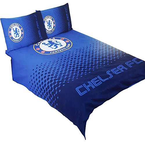 Chelsea FC Official Fade Reversible Football/Soccer Crest Double Duvet Set (Full) (Blue) (Chelsea Quilt)