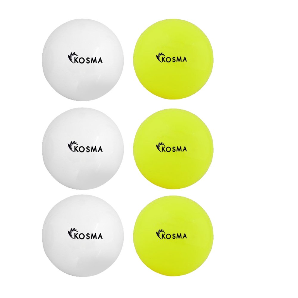 Kosma Set von 6 Glatte Hockey Bälle | Outdoor Sports PVC Praxis Training Ball 3 Gelb) Montstar Global