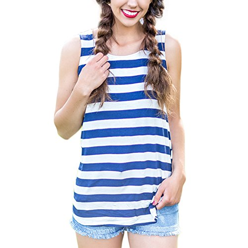 HUHHRRY Women's Butterfly Lace Back Tank (Blue Striped Tank Top Shirt)