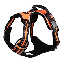 Lalawow Dog Harness with Handle No Pull Leash D-Ring Reflective (XL: Chest Size 34.65-39.37inch, Orange)