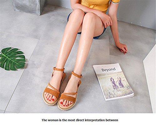 con ShangYi flecos de planos sandalias el con Summer flecos con piel en encaje Zapatos borlas Marrón con Rome talón tacones 0nP0wxrq