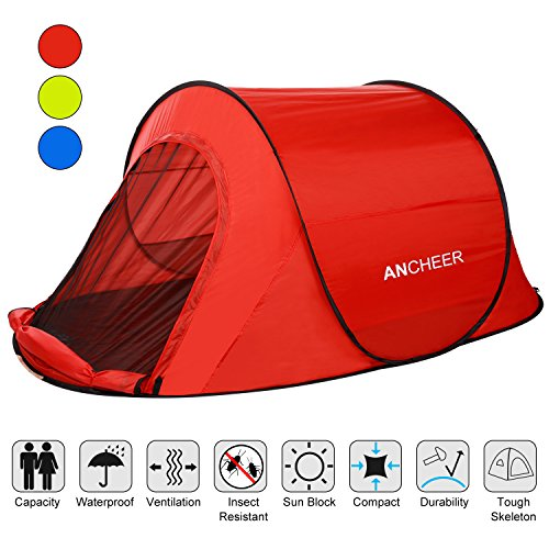 ANCHEER Large Pop Up Backpacking Camping Hiking Tent Automatic Instant Setup Easy Fold back Shelter Travelling Beach Shelter for 1-2 Person Red (Red)