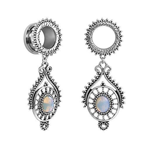 TBOSEN Stainless Steel Teardrop Opal Wedding Earrings Large Dangle Bridal Plug Ear Gauges Stretching Tapers Screw Fit Tunnels Gauge 0g(8mm)