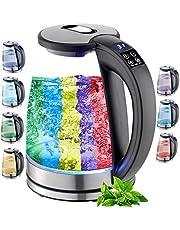 Vattenkokare, glas, 1,8 liter | 2200 watt | rostfritt stål med temperaturval | tekokare | 100 % BPA-fri | varmhållningsfunktion | LED-belysning i färgförändring | temperaturinställning (40–100 °C)