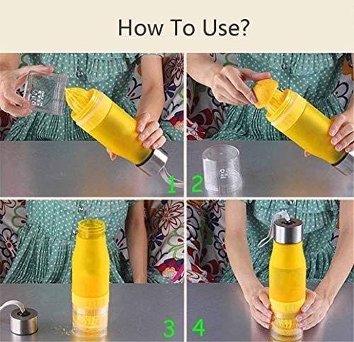 Kyonne H2O - Botella de Agua para infusor de Frutas, 650 ML, plástico, Botella de Agua, exprimidor de Cítricos, Limón, Taza DE 56 ML, a Prueba de Fugas, ...