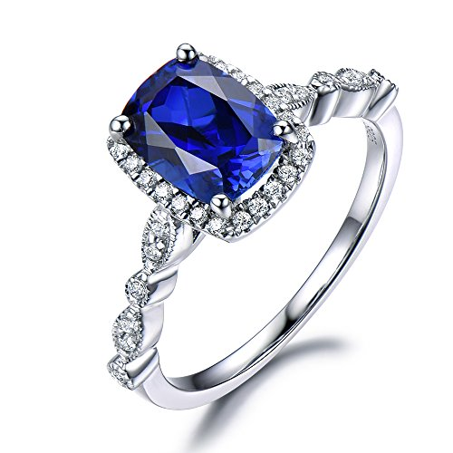 Lab Blue Sapphire Engagement Ring CZ Diamond Halo 925 Sterling Silver White Gold Art Deco Antique Cushion by Milejewel Sapphire Engagement Ring
