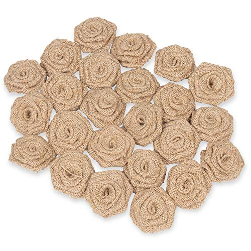 Genie Crafts 24-Pack Lace Burlap Fabric Flower Embellishments for Craft Projects, DIY Wedding Decorations, Floral Ornaments, 2.3-Inches -