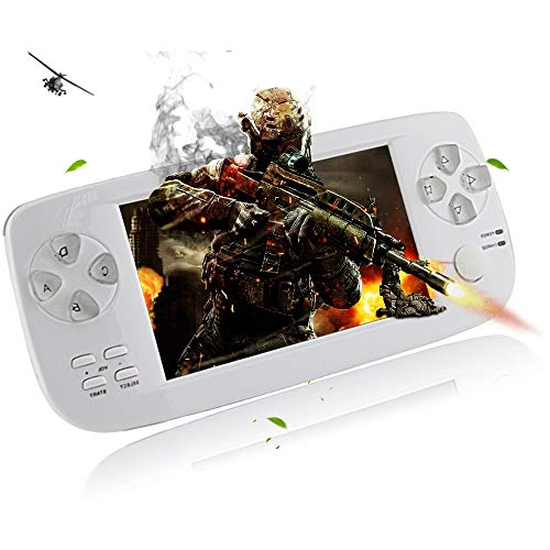 "TIANYY Retro Game Console, 4.3"" Big Screen Portable Video Game 4GB Pap Classic Handheld Game Console 64 Bit Portable Game Console Birthday Gift for Children (White)"