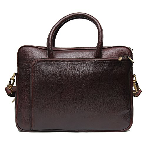 C Comfort 15 inch Pure Leather Brown Laptop Bag for men and women unisex EL98  Brown