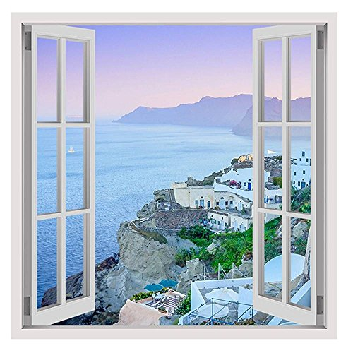 Alonline Art - Santorini Greece Vacation by Fake 3D Window | framed stretched canvas on a ready to hang frame - 100% cotton - gallery wrapped | 24
