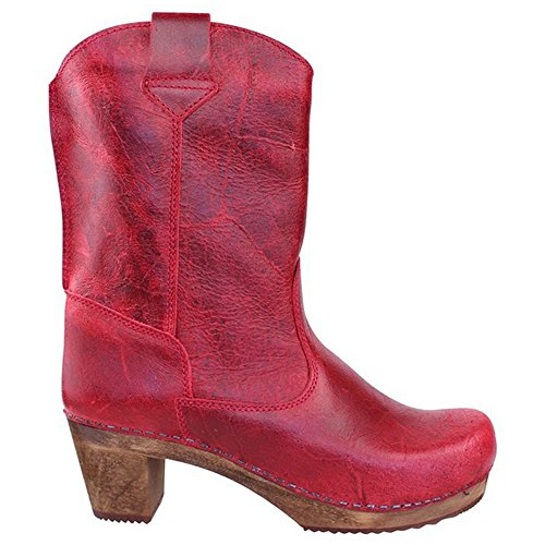 Clog Dark Boots Vintage in Sanita Red 'Laureen' Red Art 458323 wtEPqxX