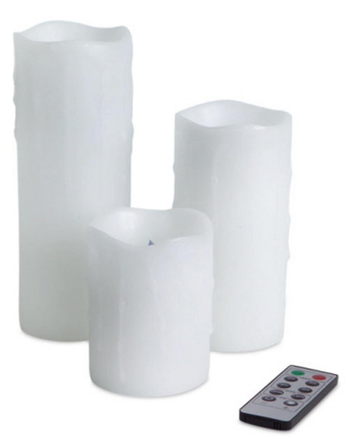6 White Dripping Remote Controlled Battery-Operated LED Flameless Pillar Candles