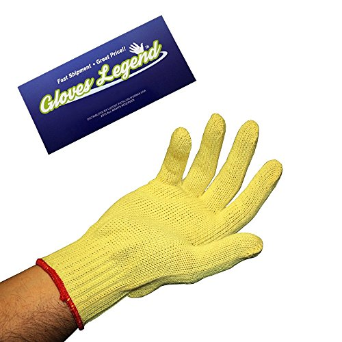 Size Large - 1 pair (2 gloves) Level 2 Cut Resistant 7 Gauge Yellow 100% KEVLAR Knit Gloves