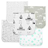 """Baby Burp Cloths for Girls and Boys,Extra Large 21""""x10"""" & Super Absorbent Organic Burp Cloths,5 Pack Set,100% Organic Cotton,3 Layer,Burping Rags for Newborns"""