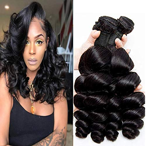 Peruvian Loose Wave 4 Bundles 8 10 12 14 Inch Natrual Color Unprocessed Virgin Human Hair Weave Double Weft Real Human Hair Extensions For Women