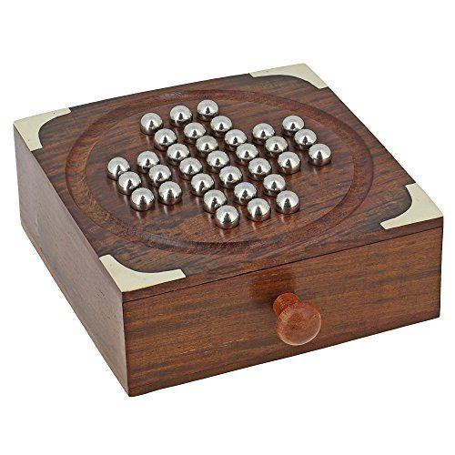 Handmade Indian Wooden Solitaire Board Game with Stainless Steel Balls – Travel Games for Adults by ShalinIndia