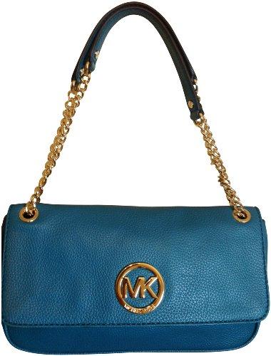Michael Kors Fulton Genuine Leather Turquoise Shoulder Flap Bag