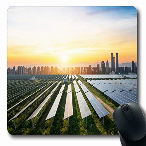 LifeCO Computer Mousepads Green Solar Panels Sunny Sky Blue Photovoltaic Electrical Modules for Renewable Energy Industrial Oblong Shape 7.9 x 9.5 Inches Oblong Gaming Mouse Pad Non-Slip Rubber ()