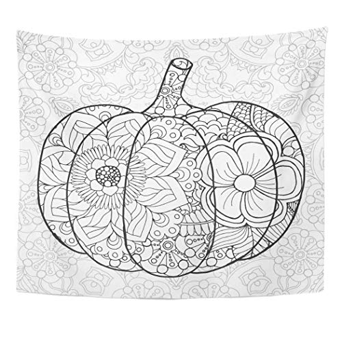 Emvency Wall Tapestry Adult Zentangle Pumpkin Black White Traditional Symbol of Thanksgiving Halloween Autumn Sketch for Colouring Page Book Decor Wall Hanging Picnic Bedsheet Blanket 60x50 Inches