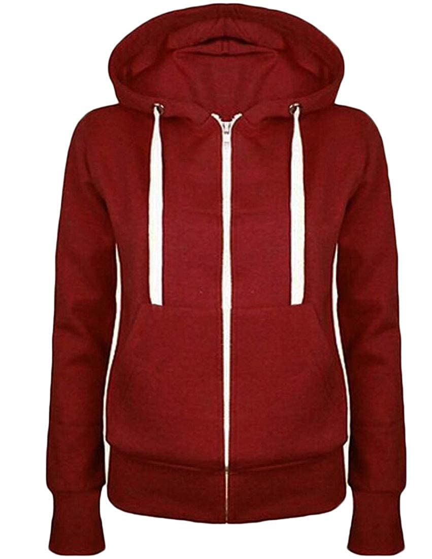 Amazon.com: S-Fly Women Stylish Hooded Linen Fleece Zipper Drawstring Sweatshirt Jacket: Clothing
