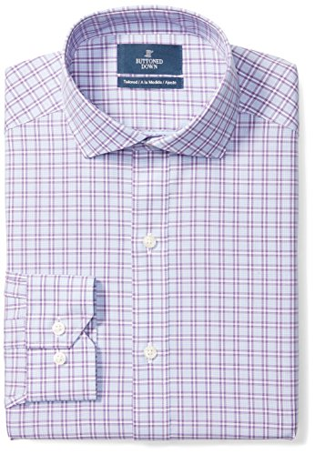 (BUTTONED DOWN Men's Tailored Fit Cutaway-Collar Pattern Non-Iron Dress Shirt, Purple Plaid, 16