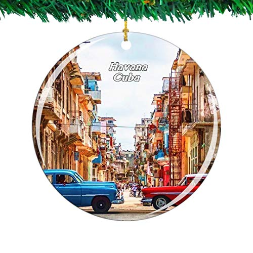 Weekino Old Town Cuba Christmas Ornament City Travel Souvenir Collection Double Sided Porcelain 2.85 Inch Hanging Tree Decoration (Decorations Cuba Christmas)