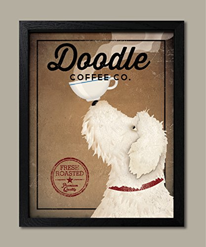 White Labradoodle Coffee Co by Ryan Fowler One 16x20in Black Framed Print