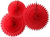 Hanging Honeycomb Tissue Fan, Red, Set of 3 (13 inch, 18 inch, 21 inch)