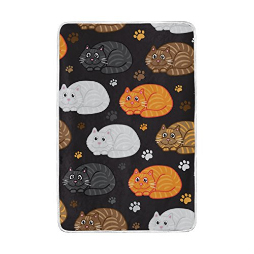Vantaso Soft Blankets Throw Cute Fat Cat Grey Yellow White Footprint Microfiber Polyester Blankets for Bedroom Sofa Couch Living Room for Kids Children Girls Boys 60 x 90 (Fat Cat Contemporary Throw)