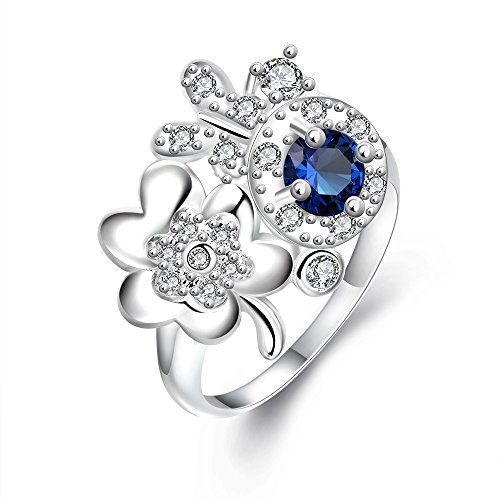 LuckyWeng Women's Round Cut 4 Prong CZ Blue Two Tone Pave Gypsy Flower Leaf Butterfly Silver Plated Bands Engagement Rings
