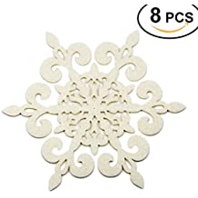 Coasters Set of 8 Felt Absorbent Snowflake Coaster for Drinks - Desktop Protection Prevent Furniture Damage - Ivory White Absorbs Moisture - Tabletop Drink Coasters