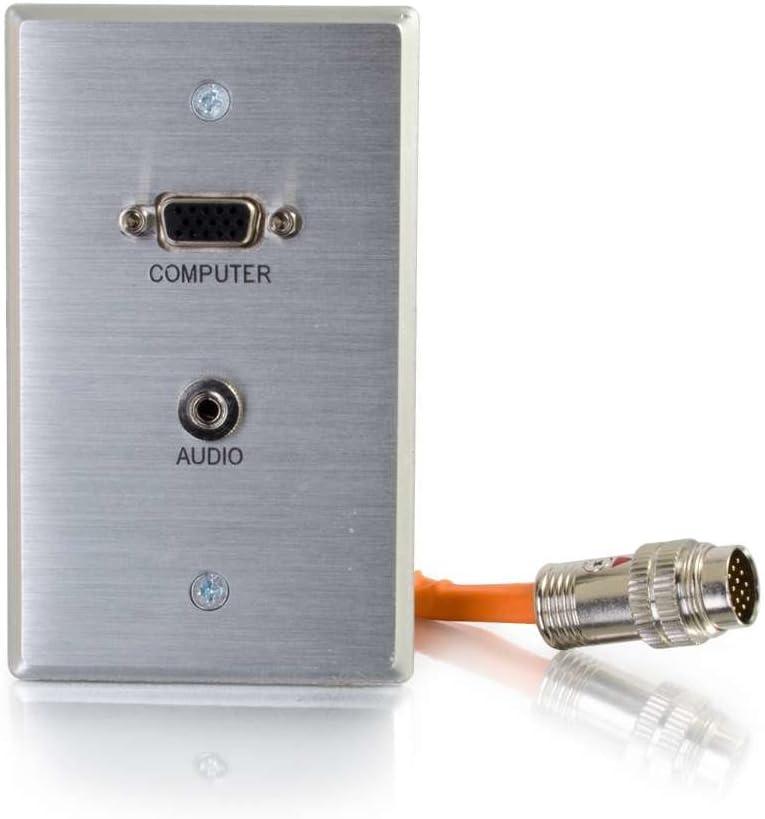C2G 60107 RapidRun VGA + 3.5mm Single Gang Wall Plate HD15 Aluminum