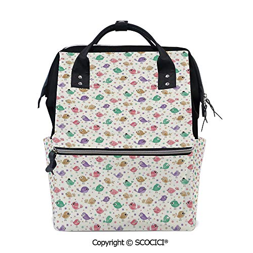 SCOCICI Travel Backpack Large Diaper Bag,Cute Birds with Various Colors Facial Expressions Funny Animal Caricature Characters,with Wide Style Top Opening