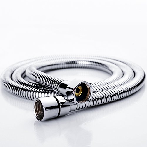 (SR SUN RISE Flexible 304 Stainless Steel Replacement Shower Hose with Brass Fittings, RV Shower Hose, Explosion-proof, 59 Inch(4.9 Ft.)1.5 Meter, Chrome Finish)