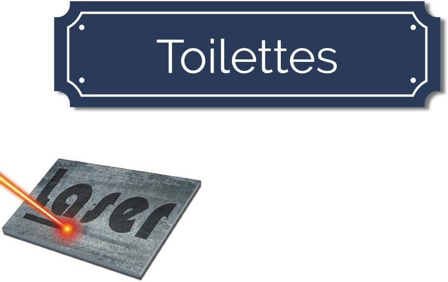 Targa incisa adesiva motivo: toilette su sfondo blu Mygoodprice 14,5 x 4 cm