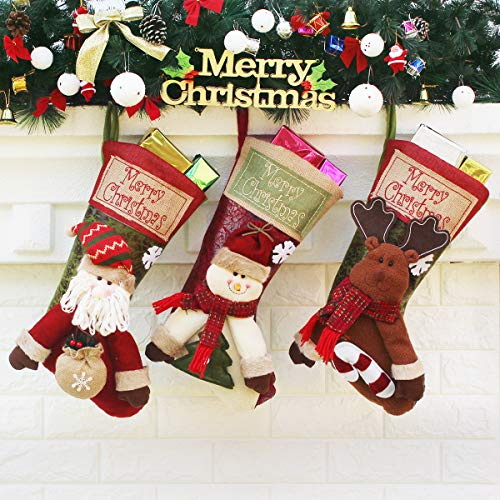 Set of 3 Christmas Stockings Decoration with Cute 3D Plush Santa Snowman Reindeer Xmas Stockings for Christmas Decorations Gifts and Family Holiday Decor, 18 Inch