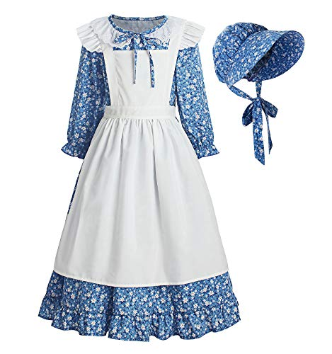 ReliBeauty Pioneer Girl Dress Colonial Prairie Costume Blue, 4T-4(110)