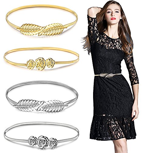 Gellwhu 4pcs Women Metal Leaves Roses Floral Elastic Waist Dress Belt Strap Waistband