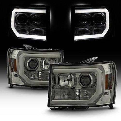 For 2007-2014 GMC Sierra 1500 2500 3500 LED Light Tube Smoked Projector Headlight Driver + Passenger