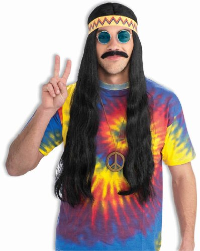 Mens 60s Costumes (Forum Novelties Men's Hippie Dude Headband Long Costume Wig, Black, One Size)