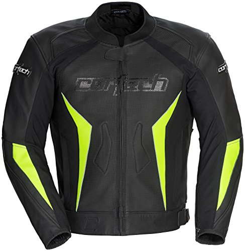 Cortech Latigo 2.0 Mens Black/Hi-Viz Yellow Leather Jacket - Medium ()