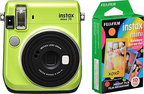 Fujifilm Instax Mini 70 – Instant Film Camera (Kiwi Green) and Instax Mini Rainbow Film Value Pack – 10 Images