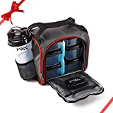 Fit & Fresh Jaxx FitPak with Portion Control Container Set, Reusable Ice Pack, and Shaker Cup (Black/Red)