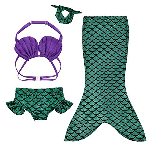 Mulfei 4pcs Kids Girl's Fancy Cut Mermaid Tail Swimsuit Bikini Set for Swimming Without Monofin (95-110cm (3-4Y))]()